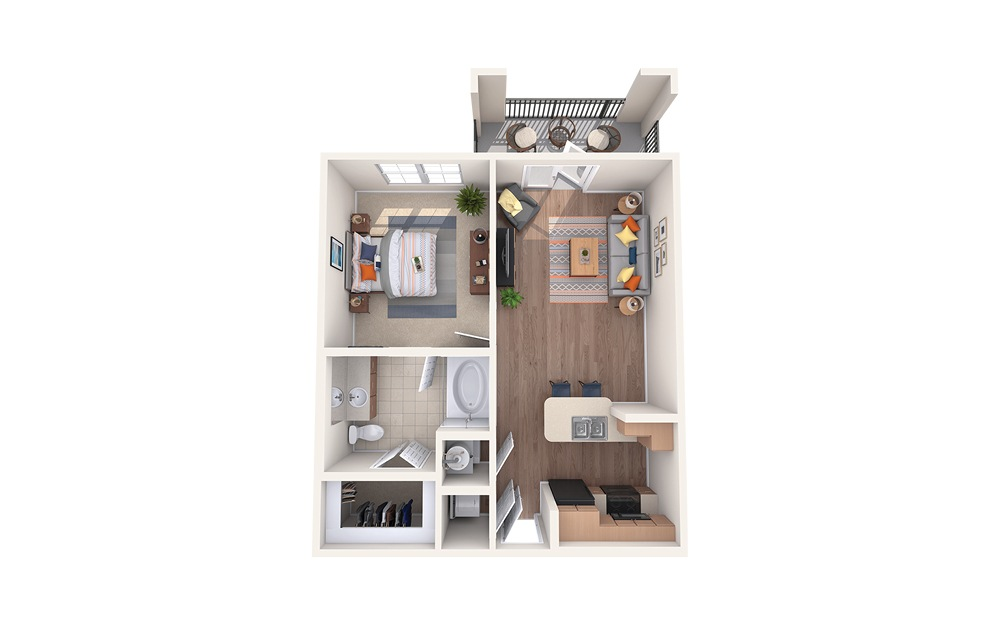 A1 - 1 bedroom floorplan layout with 1 bath and 653 square feet.