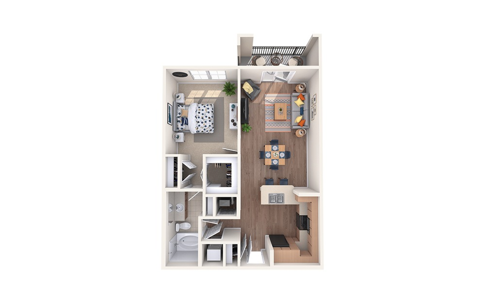 A2 - 1 bedroom floorplan layout with 1 bath and 766 square feet.