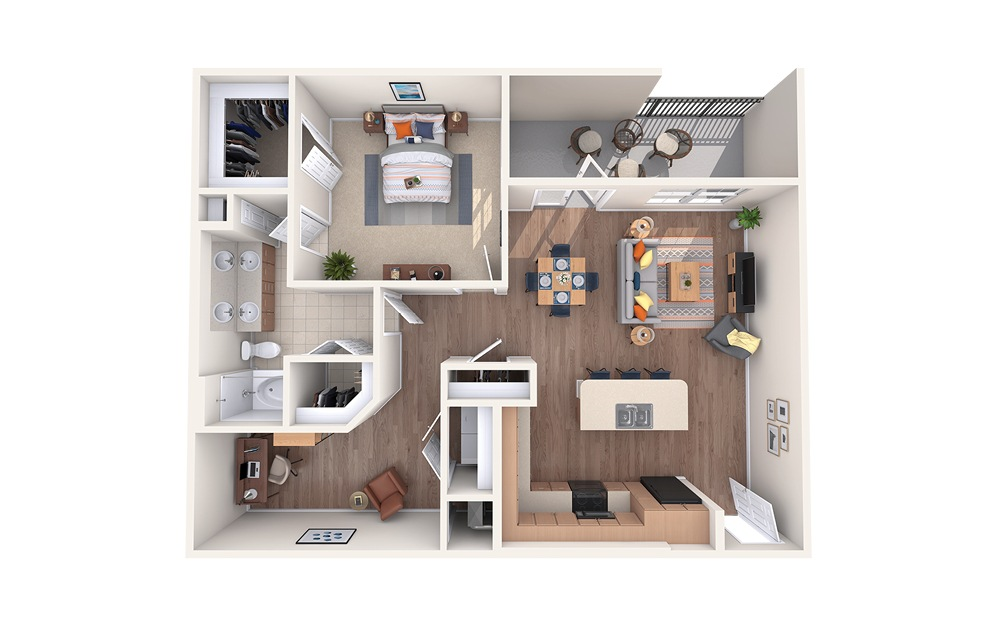 A4 - 1 bedroom floorplan layout with 1 bath and 1082 square feet.