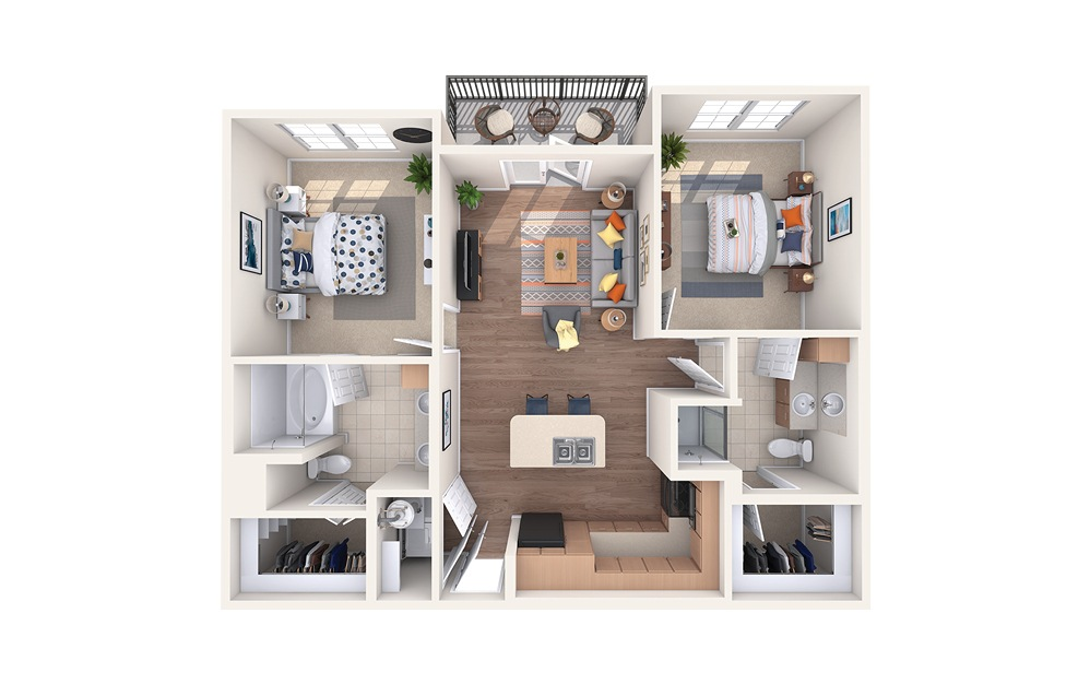 B1 - 2 bedroom floorplan layout with 2 baths and 988 square feet.