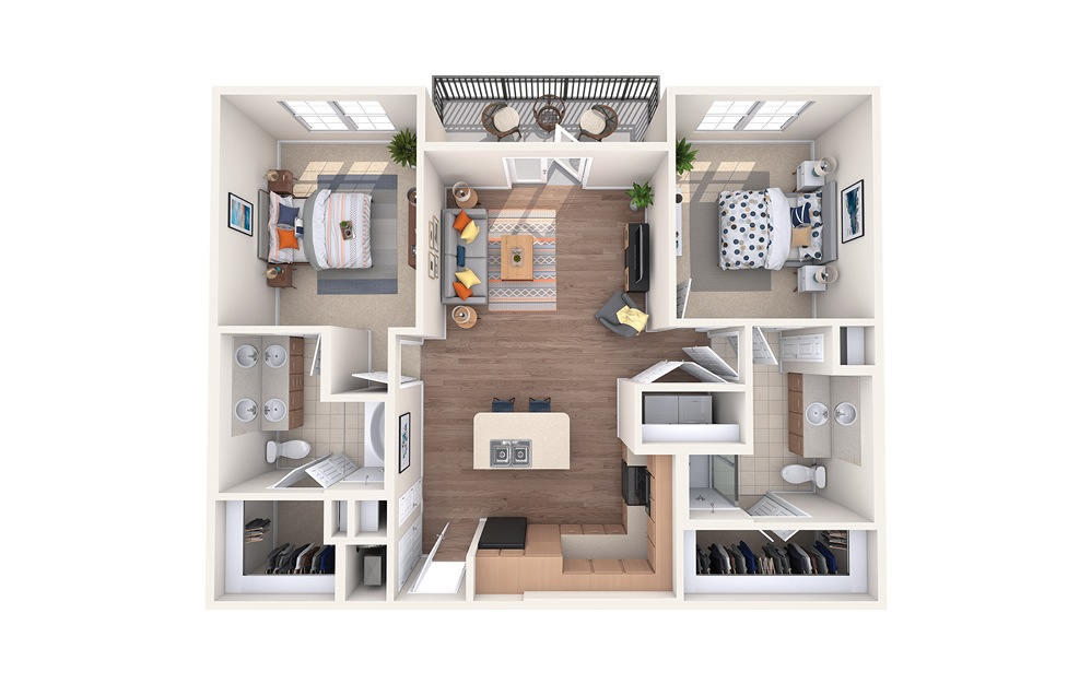 B2 - 2 bedroom floorplan layout with 2 baths and 1070 square feet.