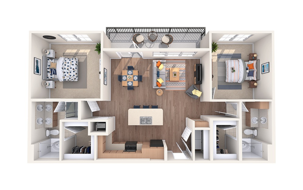 B3 - 2 bedroom floorplan layout with 2 baths and 1188 square feet.