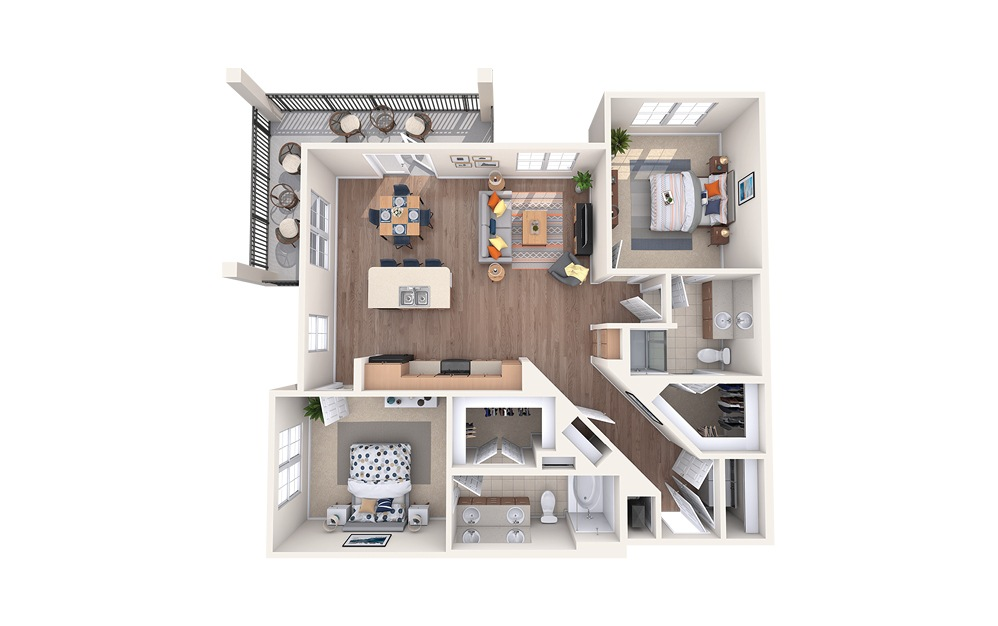 B4 - 2 bedroom floorplan layout with 2 baths and 1191 square feet.