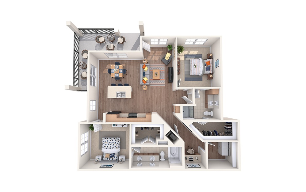 B5 - 2 bedroom floorplan layout with 2 baths and 1297 square feet.